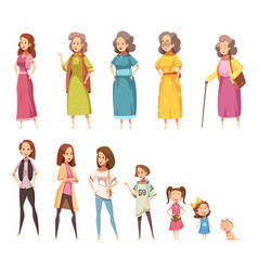 Women generation decorative icons set vector
