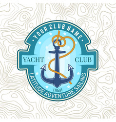 Yacht club patch concept for shirt print vector