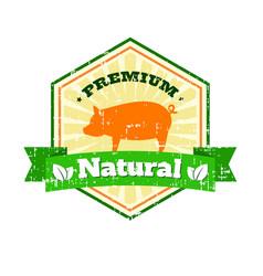 butcher shop vintage logo natural food farm logo vector image vector image