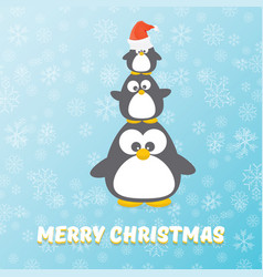 merry christmas card with penguins set on vector image