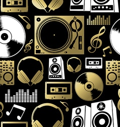 Music seamless pattern icon dj rock party club set vector image
