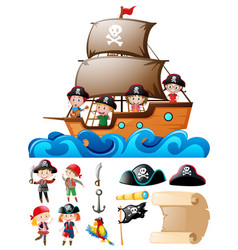 pirate set with kids on ship and other elements vector image