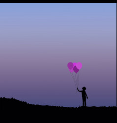 silhouette of children with balloon vector image