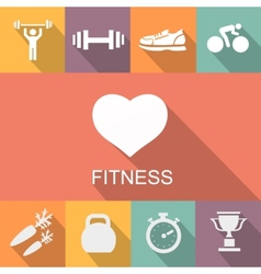 Sports background with fitness icons in flat vector image vector image