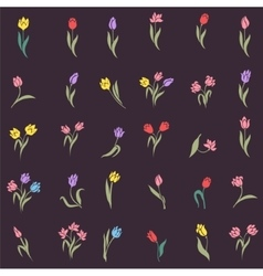 Beautiful silhouettes of tulips vector image vector image