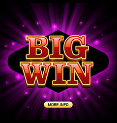 big win banner for casino games such as poker vector image vector image