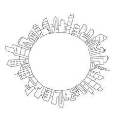 city panorama drawing in circle round place for vector image