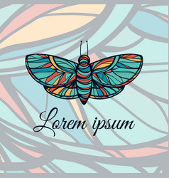 Colorful hand drawn butterfly doodle style logo vector