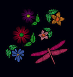 Embroidery ethnic flowers with dragonfly vector