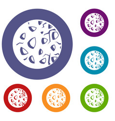 rocky planet icons set vector image vector image
