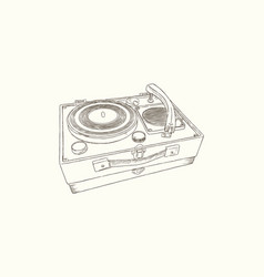 vintage turntable record player vinyl record vector image