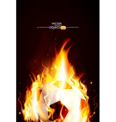 background with a burning soccer Ball vector image