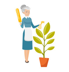 Caucasian housemaid watering flower with spray vector