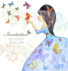cute girl with butterflies watercolor painting vector image vector image