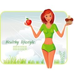 girl chooses between apple or cake vector image
