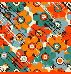 grunge floral seamless pattern vector image vector image