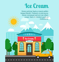 ice cream banner with shop building vector image