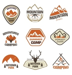 mountain and travel retro emblems and labels set vector image