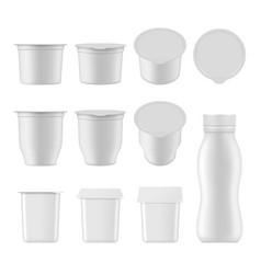 natural yogurt realistic package mockup set vector image