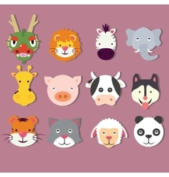 animal icon set faces mask cute of dragon vector image vector image