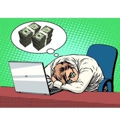 Businessman dreams of money vector