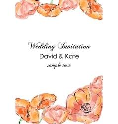 Poppy flowers card invitation vector image