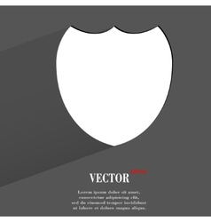 Shield protection Flat modern web button with long vector image
