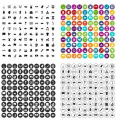 100 geography icons set variant vector image