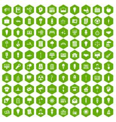 100 lamp icons hexagon green vector
