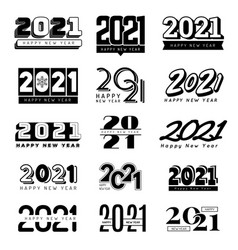 2021 numbers christmas party decoration logo hand vector image
