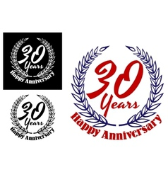 30 years Happy Anniversary icons vector image