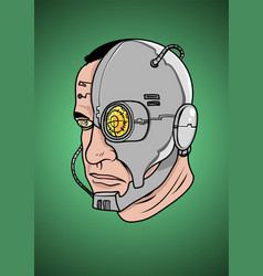 A face a cyborg vector