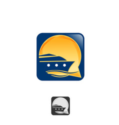 abstract cruise logo design icon app smartphone vector image