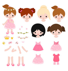 Adorable little princess constructor flat vector