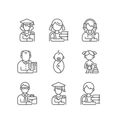 Age and gender differences linear icons set vector