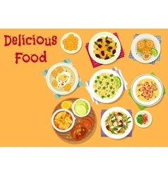 Appetizing dishes icon for lunch menu design vector image