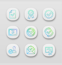 approve app icons set vector image