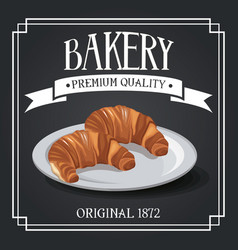 Bakery premium quality shop design elements rye vector