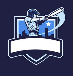 baseball player club badge design vector image