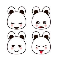 Bear teddy kawaii cartoon cute icon set vector