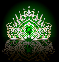 Beautiful diadem crown female with emeralds on a vector
