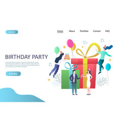 Birthday party website landing page design vector