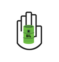 black hand symbol holding green oil barrel icon vector image