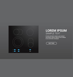 Black inductive hob with ceramic surface top view vector
