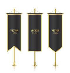 Black vertical banner flag templates vector