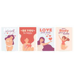 Body positive posters love yourself prints vector
