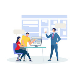 business coach explaining information in classroom vector image