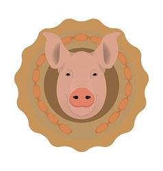 Butchery logo Pig head in wieners circle No vector image