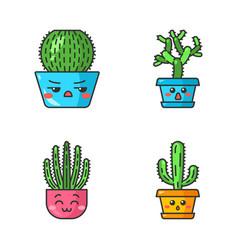 Cactuses cute kawaii characters vector