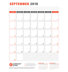 calendar template for 2018 year september vector image